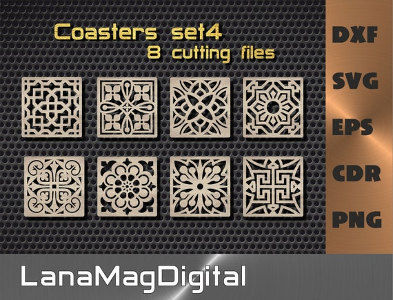 8 Wood Metal Coasters. Kitchen Decor vector files svg dxf cdr eps png. Laser cut dxf files CNC. Trivet Grill Plasma Cutting files.