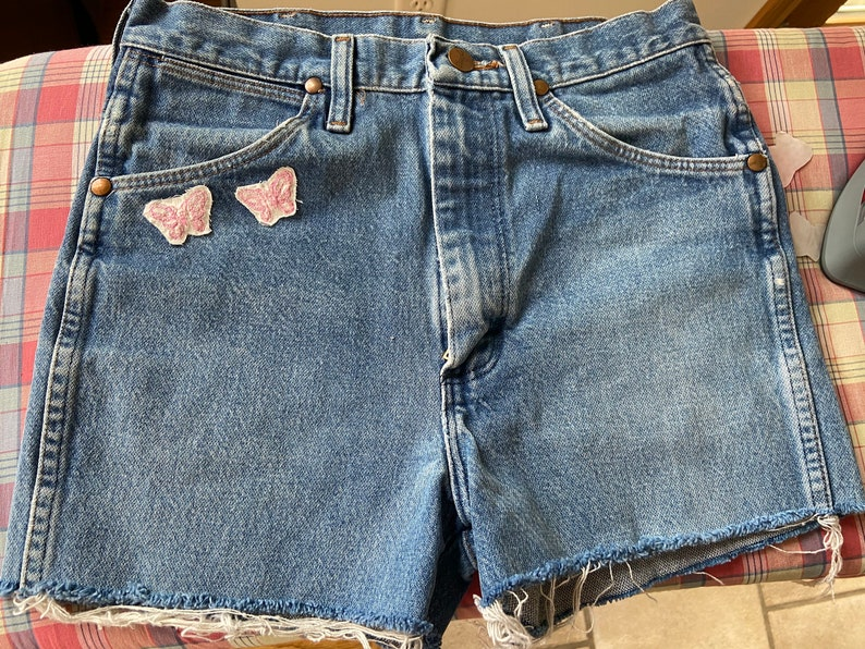 Butterfly embroidered wranglers