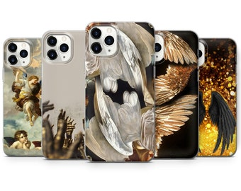Angel Wings Phone Case for Galaxy or Iphone Inlaid in Hand Painted Bronze Swirl Enamel Art Nouveau Design 360 Protection with Color Options