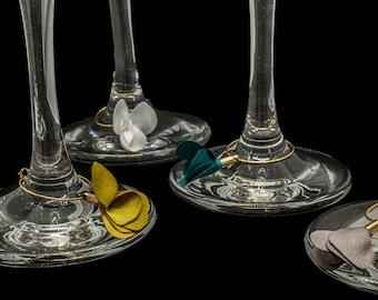 Wine charms, Flower wine charms,  Wine charms Set, Wine glass charms, Wine Accessories, Wedding wine charms, Set of 4 wine charms