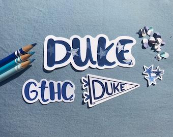 Duke Sticker Set- Duke University Stickers- GTHC- Forever Duke- Duke Pennant Sticker- Weatherproof Glossy Sticker- Laptop Water Bottle