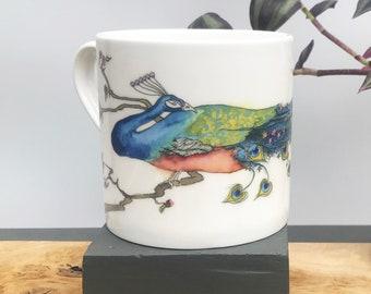 Peacock Large Mug Bone China Mug Tea Mug Coffee Mug Illustrated Mug Bird Mug Tea Cup Coffee Cup Oriental Peacock