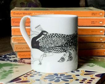 Peacock Regular Mug Bone China Mug Tea Mug Coffee Mug Bird Mug Tea Cup Coffee Cup Monochrome Magical Realism Peacock Stars Mug Black & White