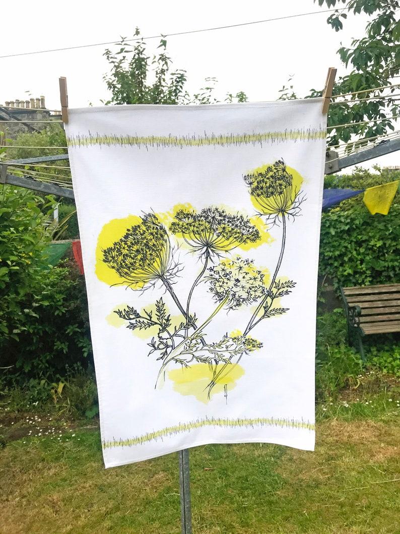 50s Cow Parsley Tea Towel Fifties Style Mid-Century modern Dish Towel Cow Parsley Floral Design Cloth Textile cow Parsley Tea Cloth