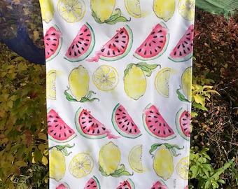 Summer Juicy Fruit Tea Towel Lemon Watermelon Dish Towel Fruit Design Cloth Textile Lemon and Watermelon Tea Cloth Watermelon Sugar