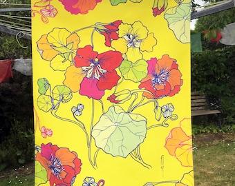 Wild Nasturtium Tea Towel Nasturtium Dish Towel Nasturtium Design Cotton Tea Towel Decorative Tea Towel Illustrated Tea Towel Tea Cloth