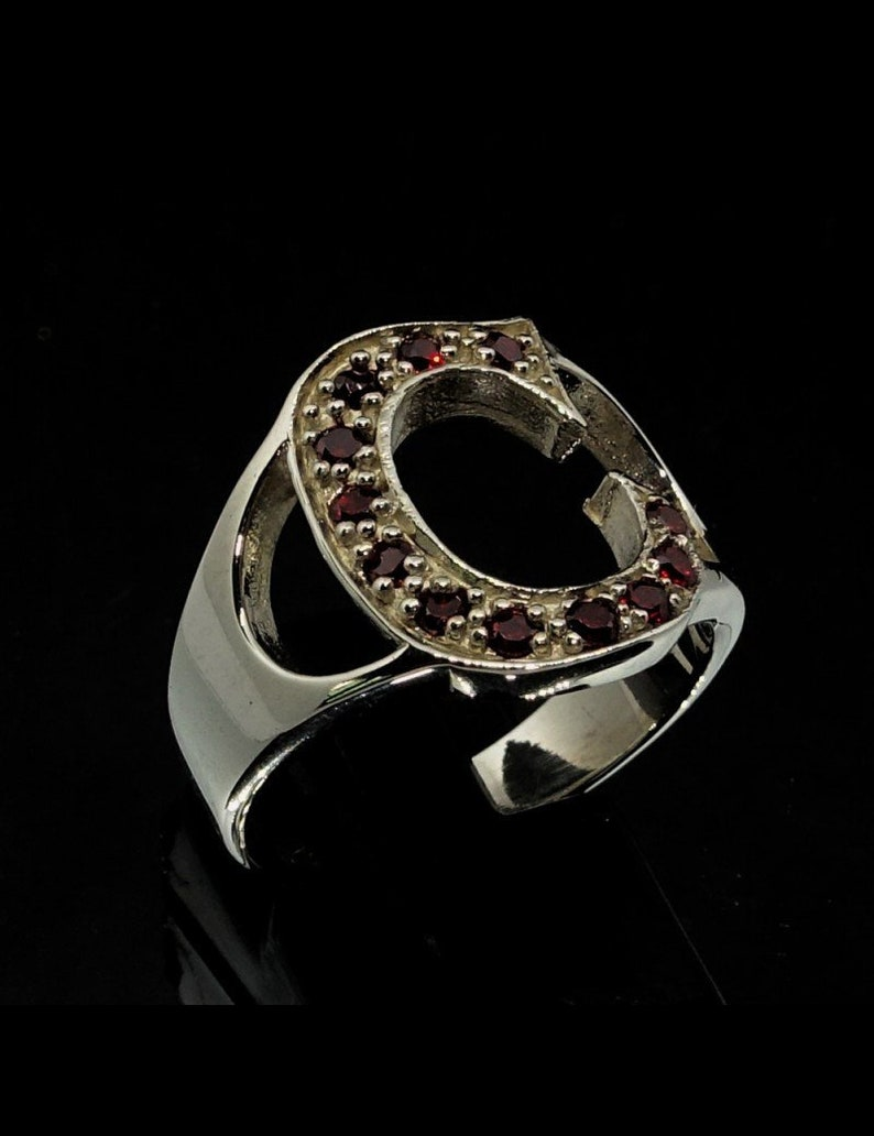 Sterling silver initial C ring with 12 Sparkling Red CZ stones high polished 925 silver unisex ring