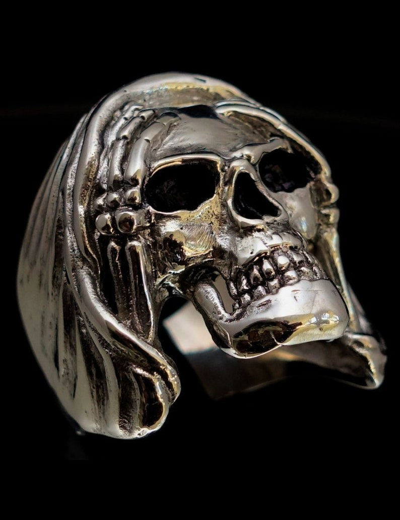 Sterling silver Skull ring Hear No Evil high polished and antiqued 925 silver men/'s ring