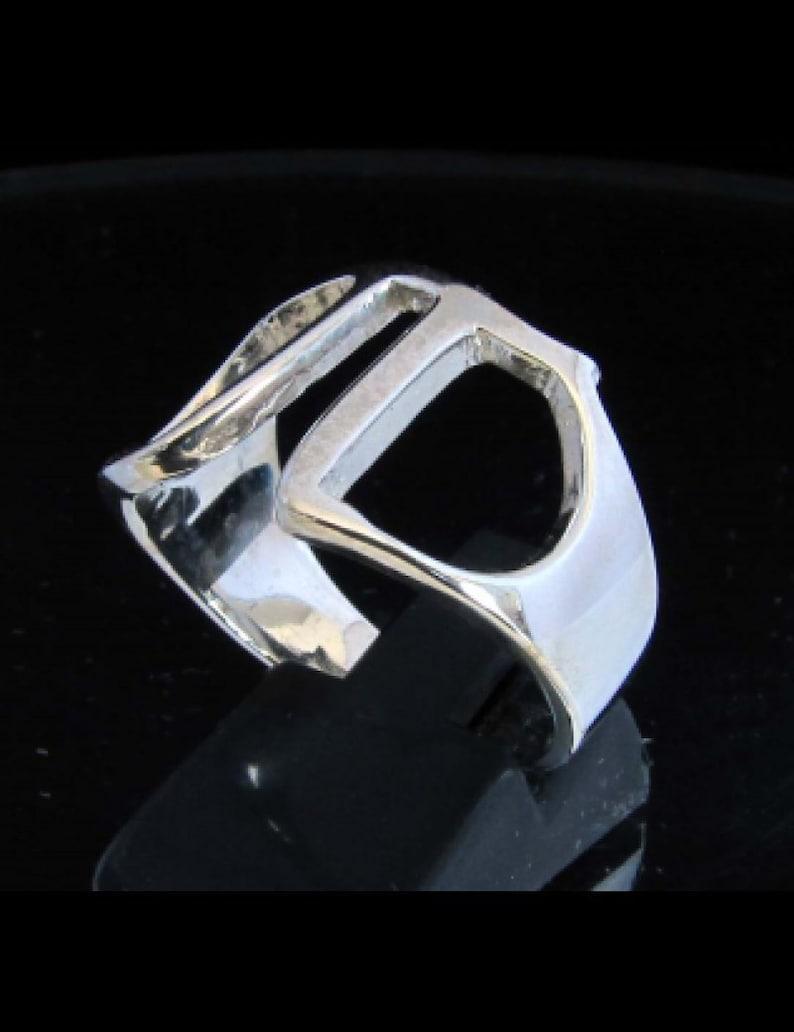 Sterling silver ring initial Pi Greek alphabet letter symbol high polished 925 silver unisex ring