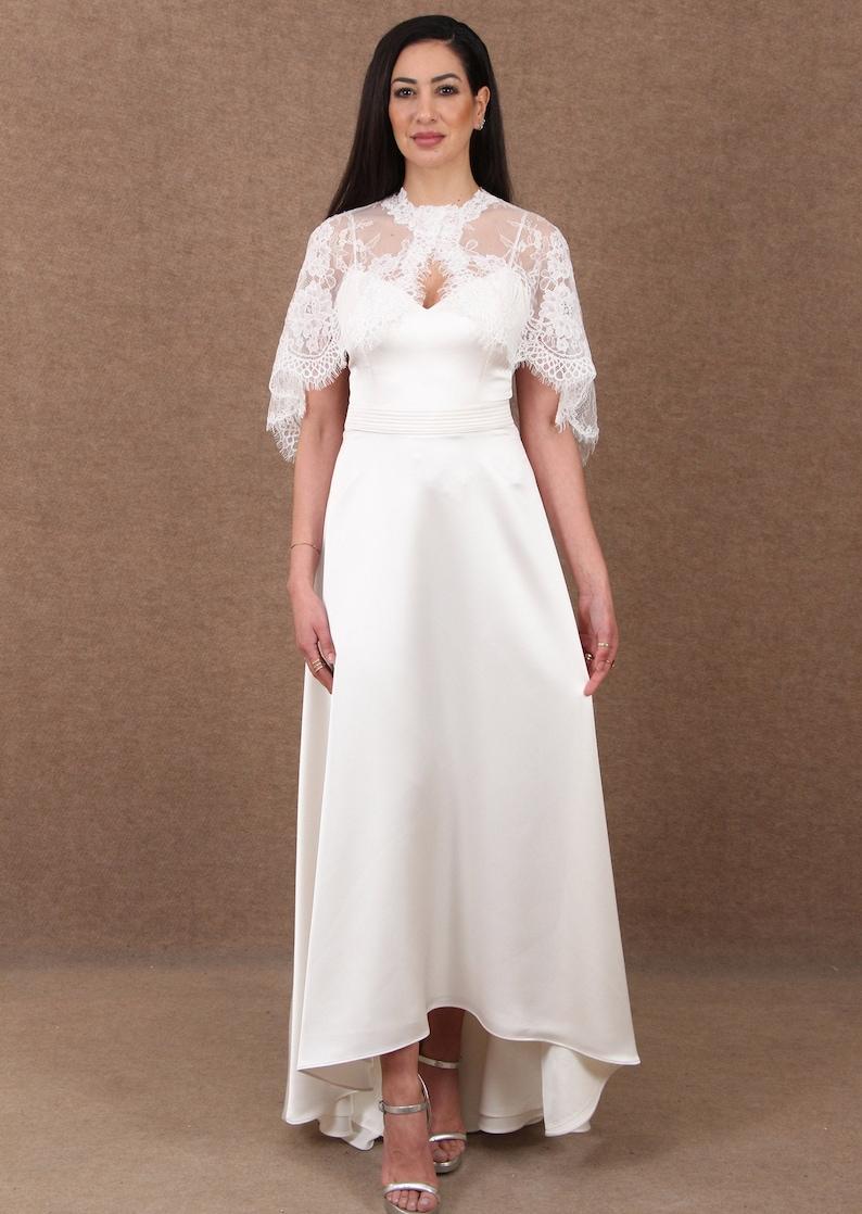 Bridal lace capeWedding cover upIvory corded lace capeBridal Alencon corded lace cape in ivory