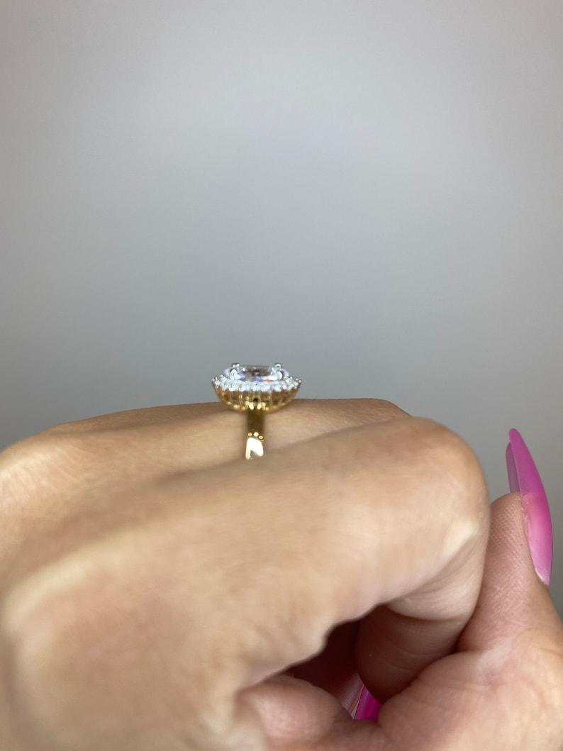 14K Garnet CZ Oval Ring