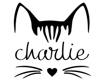 Cat Decal | Personalized Name Kitty Decal | Cat Lover Sticker | Kitty Name Decal for Tumbler | Cat Decal for Car | Laptop Decal Skin