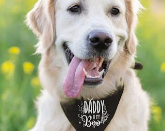 Daddy is My Boo Pet Scarf | Halloween Dog Bandana | Halloween Pet Scarf | Spider Web Halloween Pet Bandana | Daddy is My Boo Dog Bandana