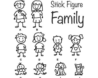 Stick Figure Family Decal | Decal for Car | Window Sticker | Laptop Decal Skin