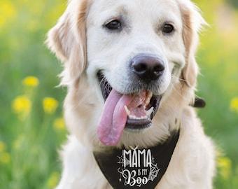 Mama is My Boo Pet Scarf | Halloween Dog Bandana | Halloween Pet Scarf | Spider Web Halloween Pet Bandana | Mama is My Boo Dog Bandana