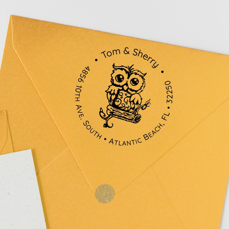 Owl Address Stamp   Custom Owl Address Stamp  Vintage Owl image 0