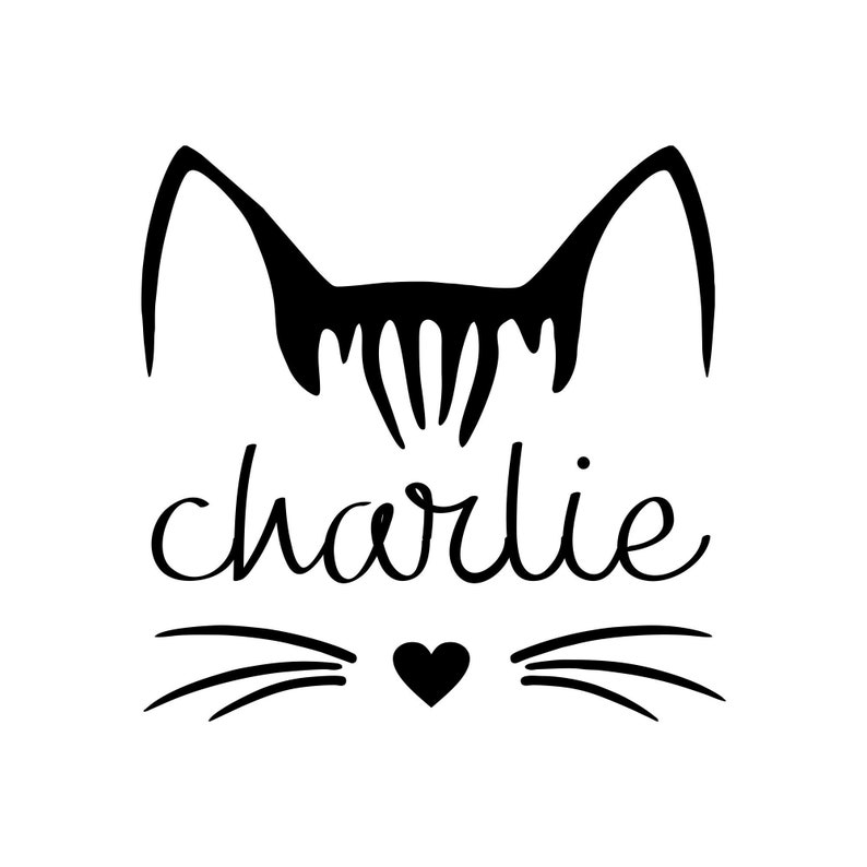 Cat Decal  Personalized Name Kitty Decal  Cat Lover Sticker image 0