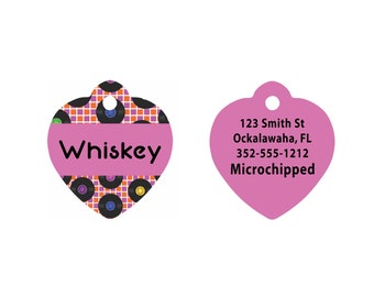 Custom Heart Shaped Pet Tag   Heart Shaped Retro Pet Tag   Dog Pet Tag   Cat Pet Tag   Black and Pink Vinyl Records Pattern on Two Sides