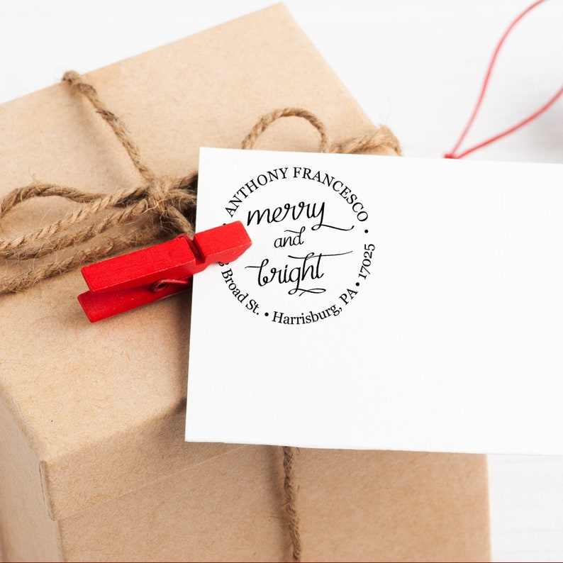 Merry & Bright Christmas Stamp  Custom Merry and Bright image 0