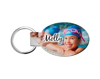 Keychain Photo Oval   Full Color Print   One or Two Sides   Custom Keyring   Personalized Photo Key Chain   Photo Keychain   Oval Keyring