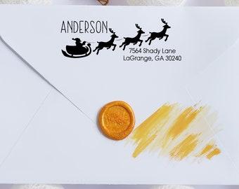 Christmas Santa Reindeer Address Stamp | Santa Sleigh Address Stamp | Reindeer Address Stamp | Christmas Custom Personalized Address Stamp