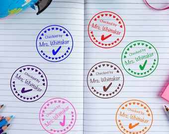 Teacher Checked By Personalized Stamp | Custom Teacher Hearts Love Stamp | Classroom Custom Stamp | Teacher Stamp Custom