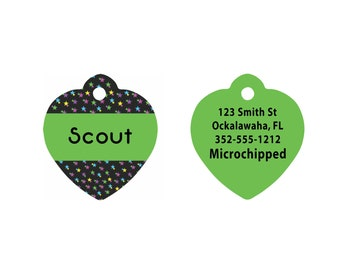 Custom Heart Shaped Pet Tag   Heart Shaped Aluminum Pet Tag   Dog Pet Tag   Cat Pet Tag   Black and Green Stars Pattern on Two Sides