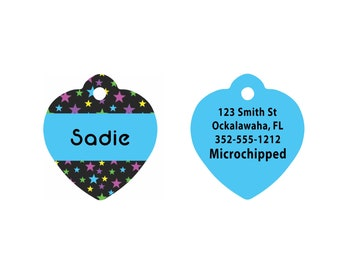 Custom Heart Shaped Pet Tag   Heart Shaped Aluminum Pet Tag   Dog Pet Tag   Cat Pet Tag   Black and Teal Blue Stars Pattern on Two Sides