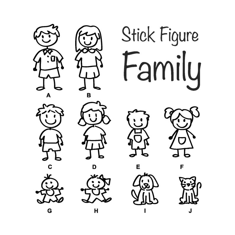 Stick Figure Family Decal  Decal for Car  Window Sticker  image 0