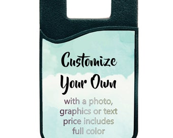 Custom Phone Wallet   Card Phone Caddy   Personalized   Your Photo   Logo   Screen Cleaner