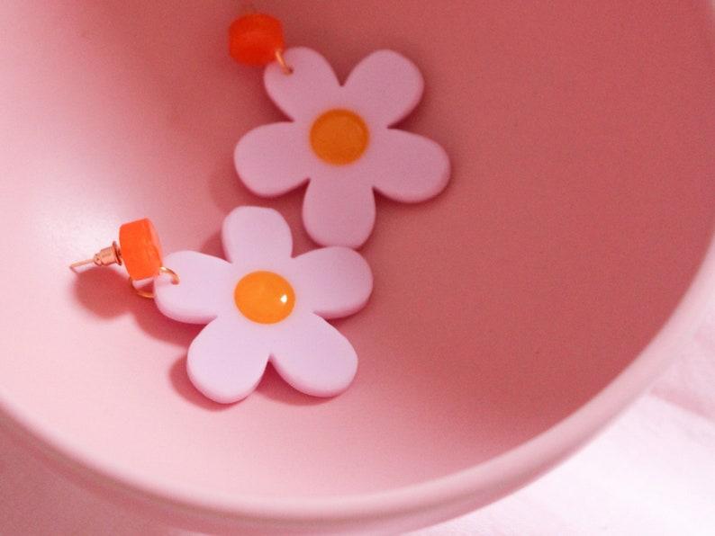 Flower Power Earrings Indie Earrings Resin flower Earrings image 0