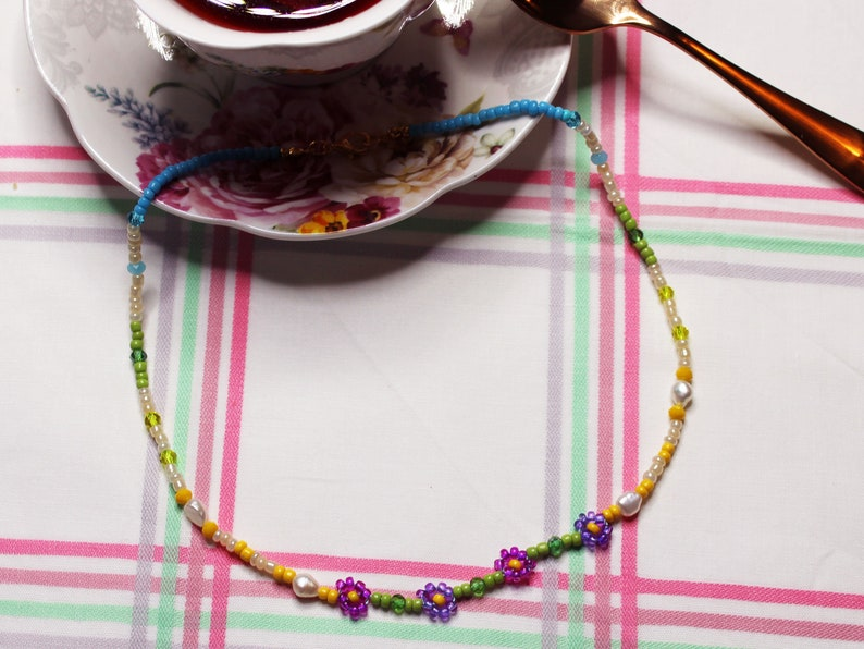 Pic-Nic Necklace beaded necklace freshwater pearls  beaded image 0