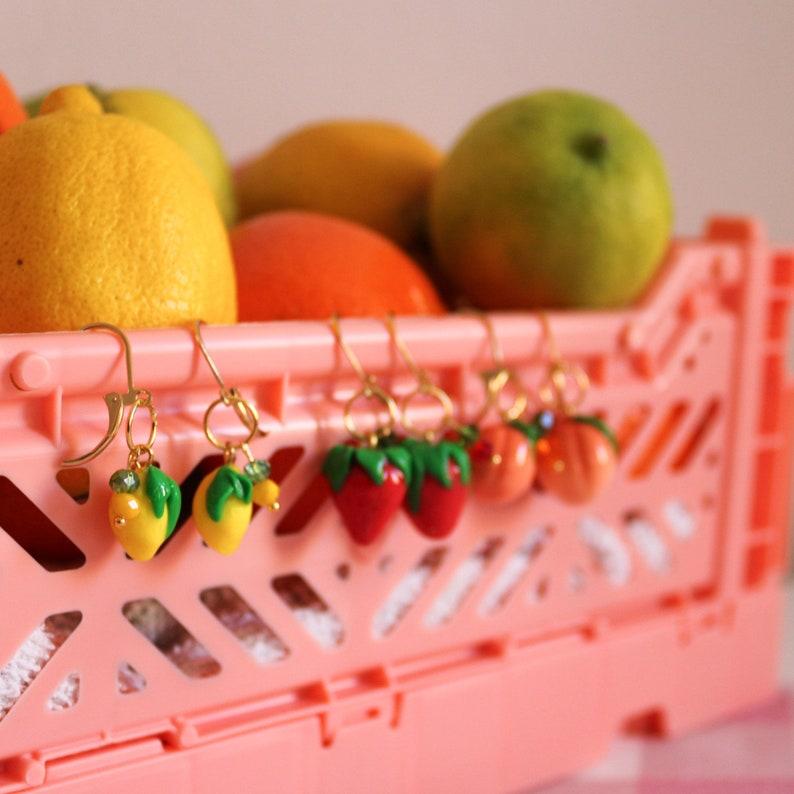 Frutteria Earrings fruits earrings lemon strawberry peach image 0
