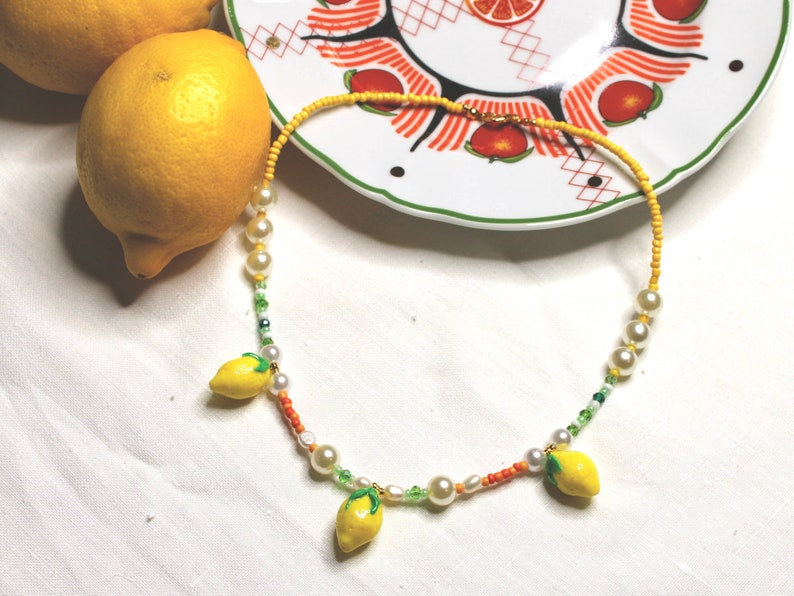Sorbetto Necklace lemons charms freshwater pearls indie image 0