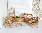 Wicker doll furniture, Modern decor for dollhouse, Miniature dollhouse furniture set, Doll furniture for 6 inch dolls