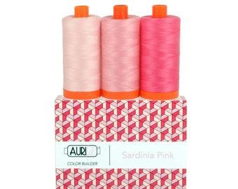 Aurifil Colorbuilder Cotton Thread 50 (Pompeii Red, Tuscany Orange, Sicily Yellow, Dolomite Green, Como Blue, Amalfi Purple, Sardinia Pink)