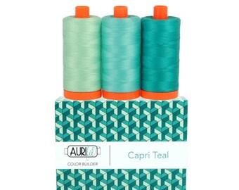Aurifil Color Builder Cotton Thread 50 wt (Capri Teal, Carrara Black/White, Florence Brown, Verona Mauve, Milan Grey)