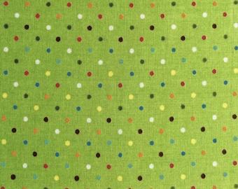 Rainbow Dots on Green