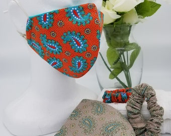 4 Layer Face Mask in Paisley and Reusable Cotton Mask plus Scrunchie Face Mask Set