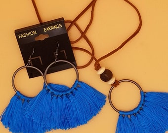 Fringe Earrings And Boho Necklace, Bold African Fringe Earrings in 7 Colors
