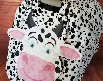 """Car Seat Canopy Cover - """"Bashful Bull"""" Playful Car Seat Covers For Boys and Girls"""