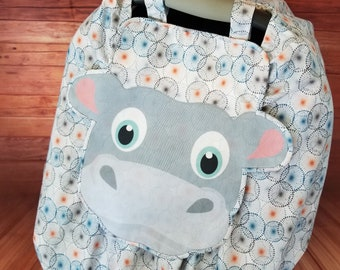 """Car Seat Canopy Cover - """"Happy Hippo"""" Playful Car Seat Covers For Boys and Girls"""