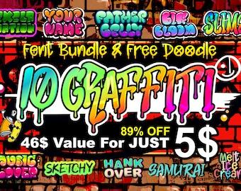 10 Exciting Graffiti font bundle, Street font, font bundle, Dripping font,  Procreate font, Bubble graffiti font, Graffiti Doodle svg