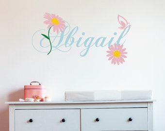 38 Pale Yellow Cream Daisy Vinyl Shaped Bedroom Wall Decals Stickers Daisies Baby Nursery Dorm Room Removable Custom Made Easy to Install
