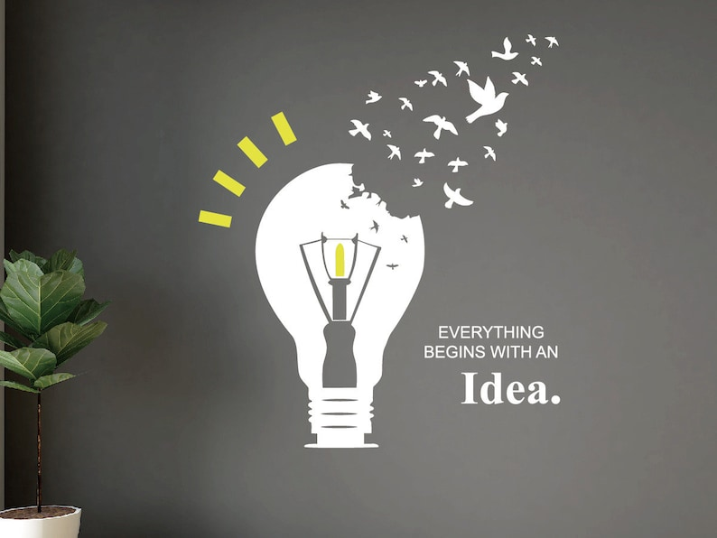Bulb Style With Quotes Everything Begins With An Idea Wall image 0