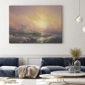 90x30cm Neunte Welle Meer Poster Leinwand-Druck Bild #62219 Ivan Aivazovsky