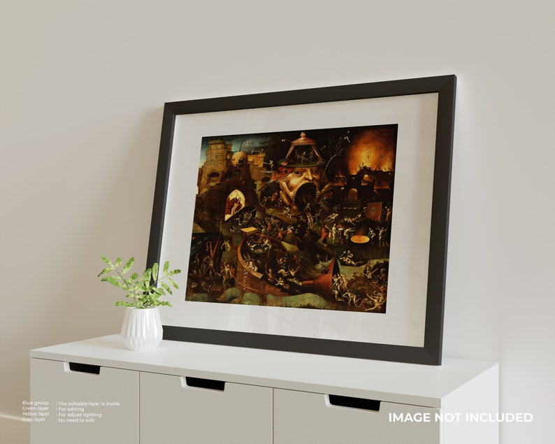 circa 1575 Canvas Print Giclee Wall Art Gallery Wrapped Follower of Hieronymus Bosch: Christ in Limbo Vintage style gift.