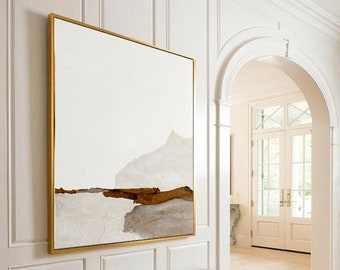 Large Beige Painting For Living Room Contemporary Oil Abstract Paintings, Brown Painting Beige Painting,Oversized Scandinavian Mountain Art