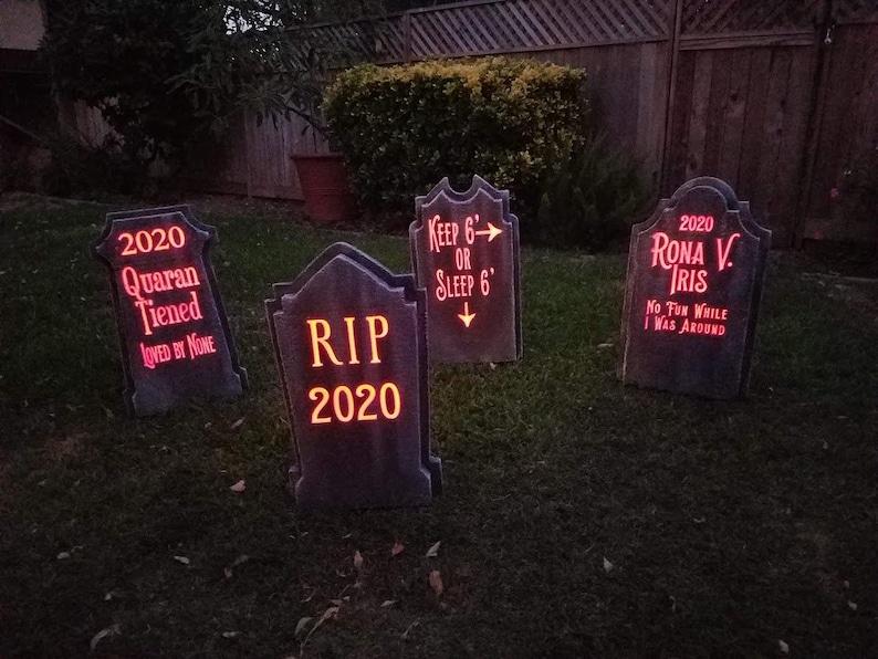 Light Up Halloween Graveyard Tombstones