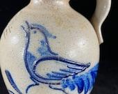Rowe Pottery 1986 Bird Jug Salt Glaze Bird Jug Rowe Pottery Works Handmade Pottery Jug Cobalt Trim Bird crock jug Bird Pitcher
